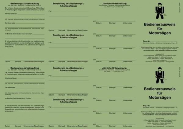 Bedienerausweis Motorsägenführer für den PC 50 Ausweise (=25 Blatt)
