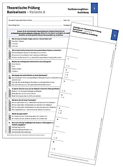 Testbogen Prüfung Flurförderzeugführern/ Staplerfahrern