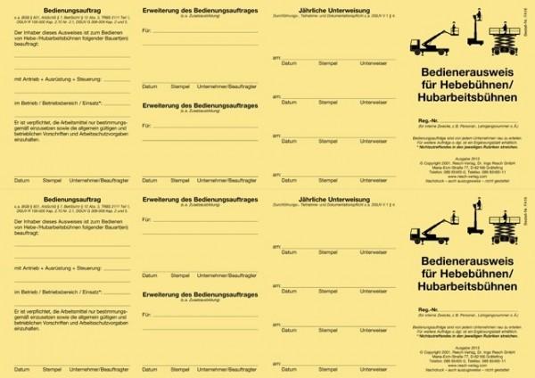Bedienerausweis Hebebühnen / Hubarbeitsbühnen für den PC 50 Ausweise (=25 Blatt)