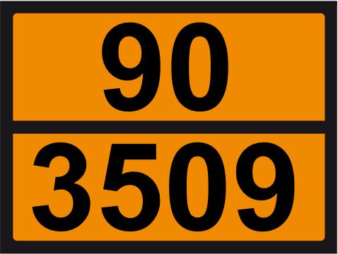 UN-Tafel 30 x 40 mit Eindruck 90 und 3509