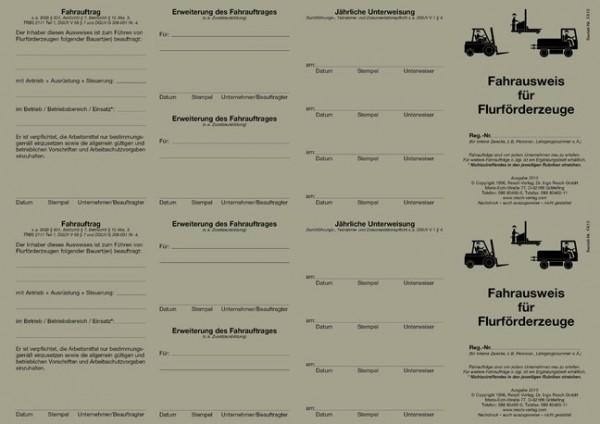 Fahrausweis Flurförderzeuge für den PC 50 Ausweise (= 25 Blatt)