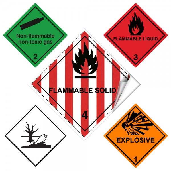 Musterpaket Gefahrgutkennzeichen mit Text