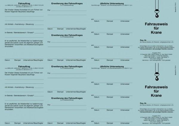 Fahrausweis Krane für den PC 50 Ausweise (=25 Blatt)