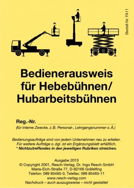 Bedienerausweis Hebebühnen / Hubarbeitsbühnen