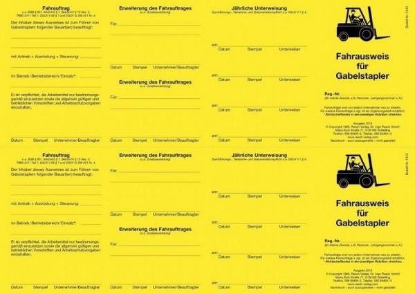 Fahrausweis für Gabelstapler für den PC 50 Ausweise (=25 Blatt)