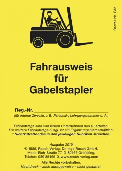 Fahrausweis für Gabelstapler